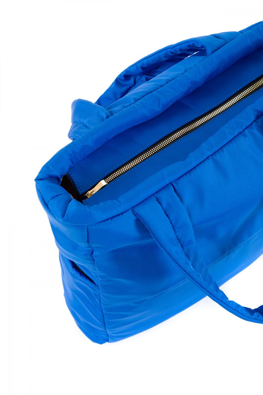 Kadın Saten Kumaş Dolgulu Shopper Çanta Saks Mavi