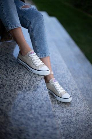 Erkek Ayakkabı - BEJ&SİYAH ŞERİTLİ