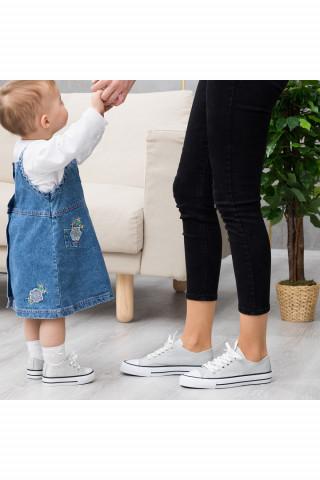 Gümüş Simli Keten Unisex Sneaker (20-40)