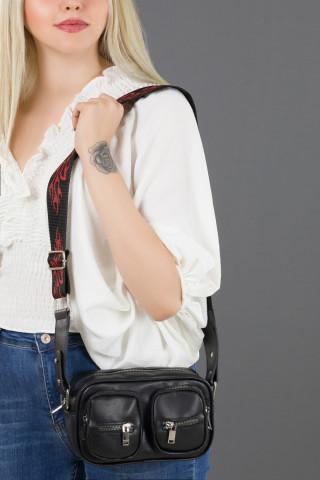 Kadın Alev Desen Kolon Askılı Çift Cepli Çapraz Çanta Siyah