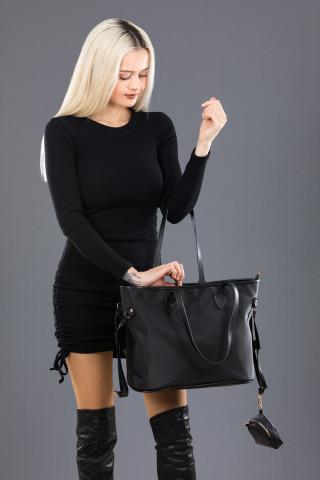 Kadın Bigger Model Saten Omuz Çantası Siyah