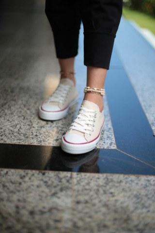 Kadın Ayakkabı - Bej Kırmızı Şeritli