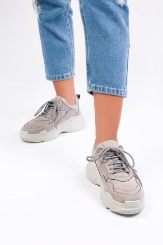 Kadın Gri Süet Spor Ayakkabı