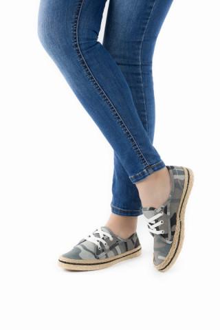 Kadın Hasır Taban Günlük Ayakkabı Delhi Gri Kamuflaj