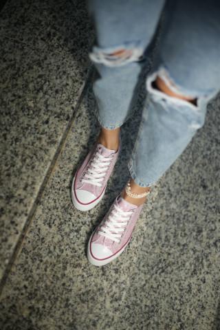 Kadın Pembe Simli Sneaker