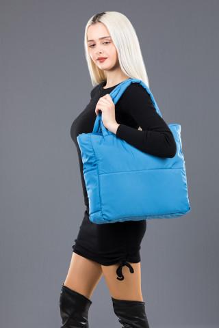 Kadın Saten Kumaş Dolgulu Shopper Çanta Açık Mavi