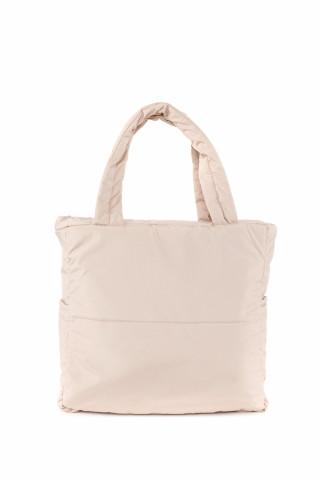 Kadın Saten Kumaş Dolgulu Shopper Çanta Bej