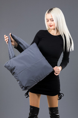 Kadın Saten Kumaş Dolgulu Shopper Çanta Gri
