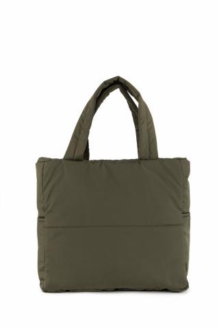 Kadın Saten Kumaş Dolgulu Shopper Çanta Haki