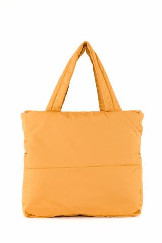 Kadın Saten Kumaş Dolgulu Shopper Çanta Hardal