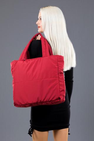 Kadın Saten Kumaş Dolgulu Shopper Çanta Kırmızı