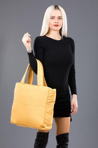 Kadın Saten Kumaş Dolgulu Shopper Çanta Sarı