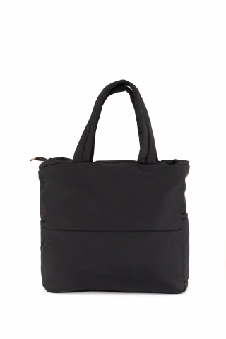 Kadın Saten Kumaş Dolgulu Shopper Çanta Siyah