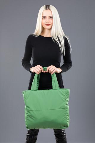 Kadın Saten Kumaş Dolgulu Shopper Çanta Yeşil