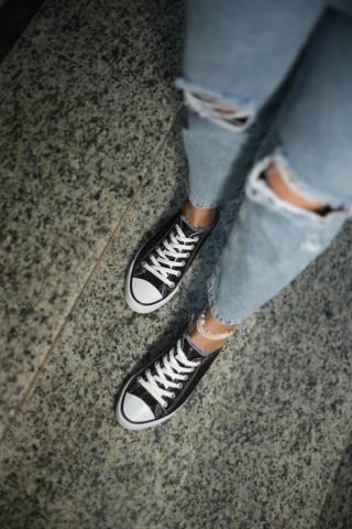 Kadın Siyah Simli Sneaker