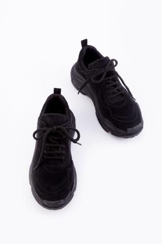 Kadın Siyah Süet Spor Ayakkabı