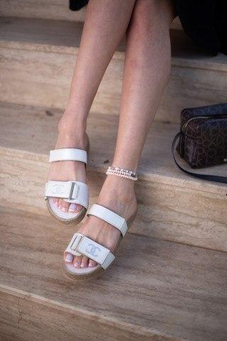 Kadın Taşlı Sandalet CC BEYAZ CİLT