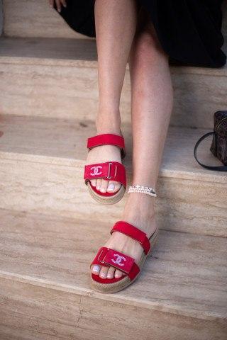 Kadın Taşlı Sandalet CC KIRMIZI SÜET