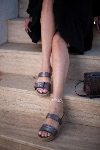 Kadın Taşlı Sandalet CC KOYU KAHVE CİLT