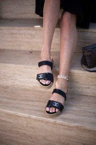 Kadın Taşlı Sandalet CC SİYAH CİLT