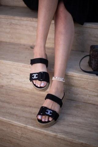 Kadın Taşlı Sandalet CC SİYAH SÜET
