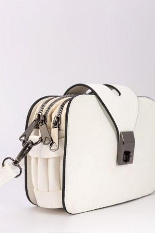Kadın Üç Fermuarlı Omuz Çantası - 0446 Beyaz