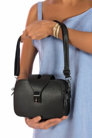 Kadın Üç Fermuarlı Omuz Çantası - 0446 Siyah
