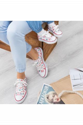 Kırmızı Çiçekli Keten Unisex Sneaker (20-40)