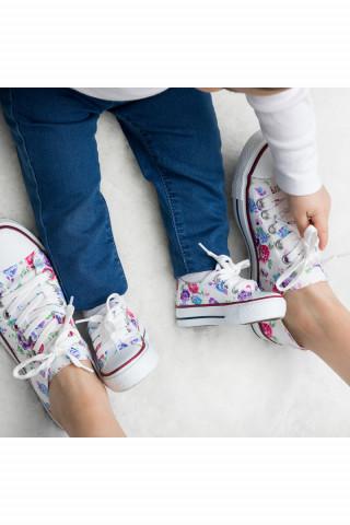 Mor Çiçekli Keten Unisex Sneaker (20-40)