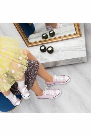 Pembe Simli Keten Unisex Sneaker (20-40)