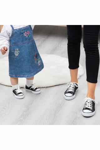 Siyah-Beyaz Keten Unisex Sneaker (20-44)