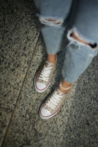 Kadın Gold Simli Sneaker