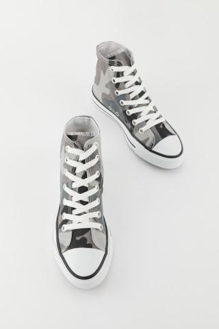 Unisex Gri Kamuflaj Uzun Spor Ayakkabı