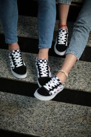 Unisex Günlük Spor Ayakkabı - Kareli Yanı Beyaz