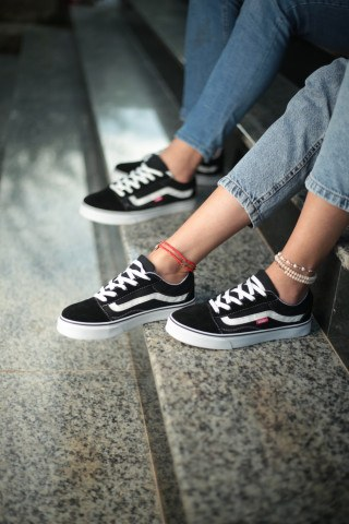 Unisex Günlük Spor Ayakkabı - Siyah Yanı Beyaz