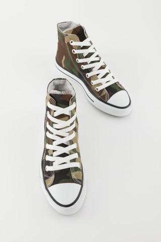 Unisex Haki Kamuflaj Uzun Spor Ayakkabı