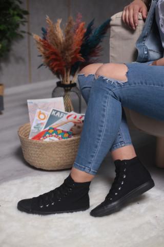Unisex Kömür Siyahı Uzun Spor Ayakkabı